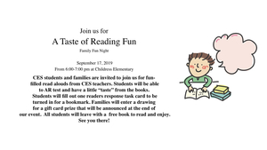 A Taste of Reading Fun - Family Fun Night