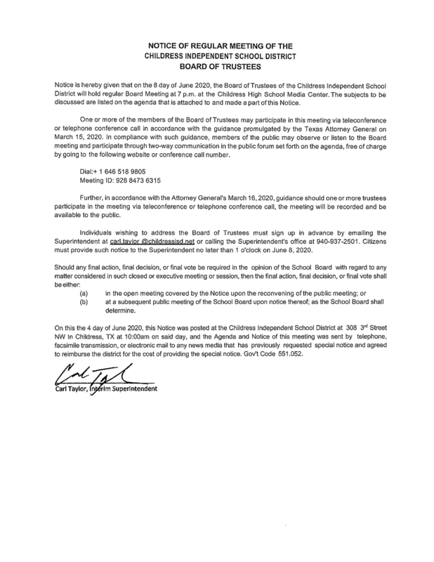 NOTICE OF REGULAR MEETING OF THE CHILDRESS INDEPENDENT SCHOOL DISTRICT BOARD OF TRUSTEES